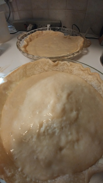 Batter in pie crust, in pie dish