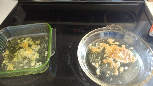 Once heated to 400F remove pans, spread butter out and spray sides of pans